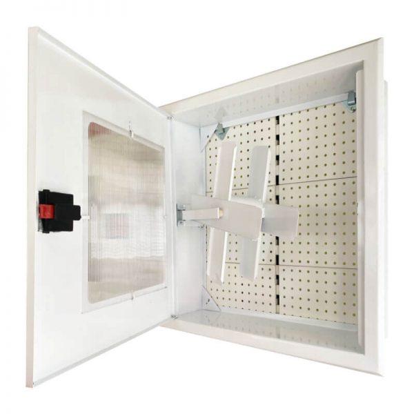Пожарна касета за вграждане с прозорец - бяла